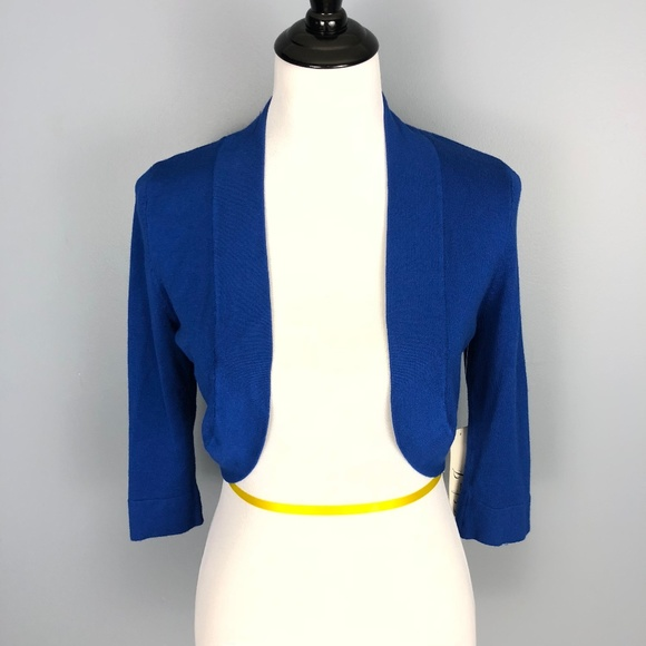86bd476f49 Eliza J Open Front Shrug Sweater XS Blue Stretch